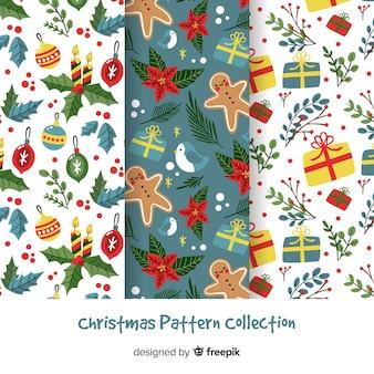美しいフラットなクリスマスパターンコレクション