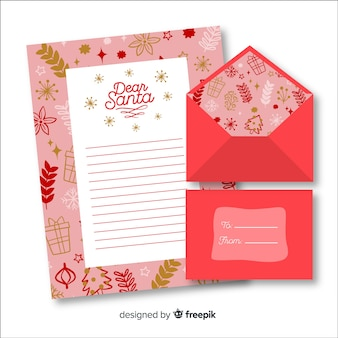 手描きのクリスマスの封筒と手紙の概念
