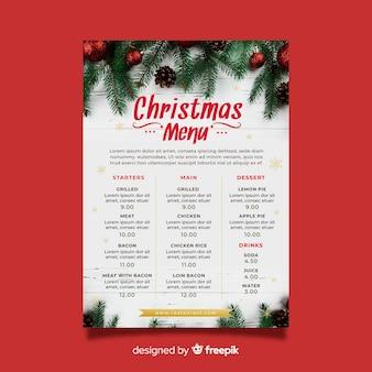 エレガントなクリスマスメニューテンプレート
