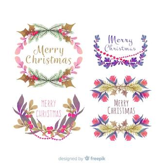 水彩クリスマスの花と花輪のコレクション