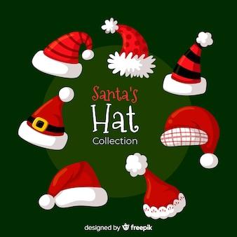 フラットデザインのクラシックなサンタの帽子コレクション