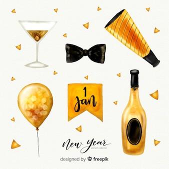 Прекрасный акварельный коллектив элементов нового года
