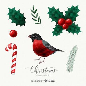 素敵な水彩クリスマス要素コレクション