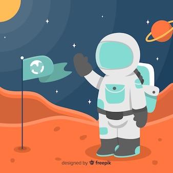フラットデザインの現代火星の背景