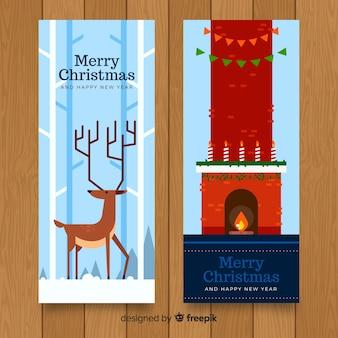 クリスマス暖炉の鹿のバナー
