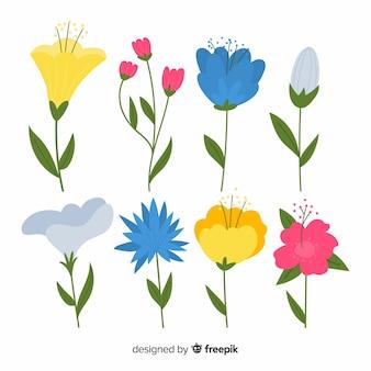 Прекрасная коллекция цветов с плоским дизайном