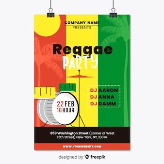 Красочный реггейный плакат с плоским дизайном