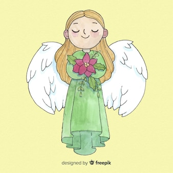 素敵な水彩クリスマス天使の女の子の背景