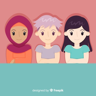 フラットデザインの女性の国際グループ