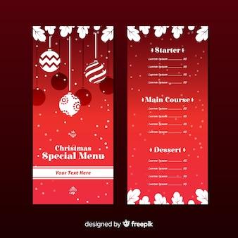 フラットデザインのエレガントなクリスマスメニューテンプレート