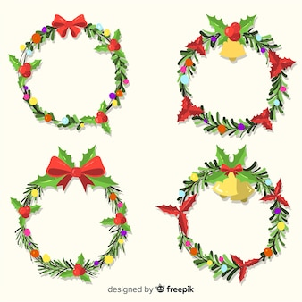 フラットデザインのクリスマスフラワーと花輪コレクション