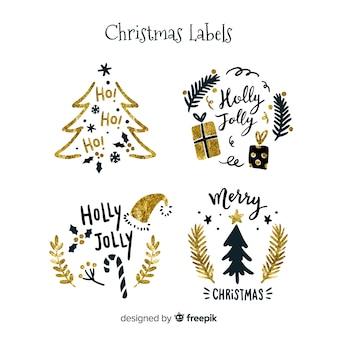 エレガントな黒と黄金のクリスマスラベル