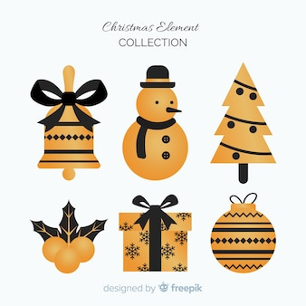 Элегантные элементы черного и золотого рождества