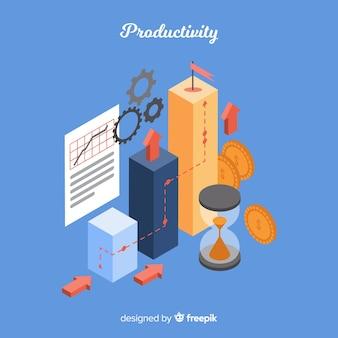 等角図での現代の生産性コンセプト