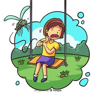 漫画の蚊の刺青の背景