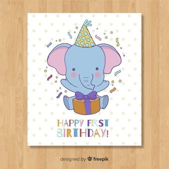 美しい最初の誕生日カードのテンプレート