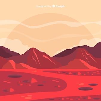 Марс пейзаж с плоским дизайном