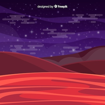 フラットデザインの火星の風景の背景