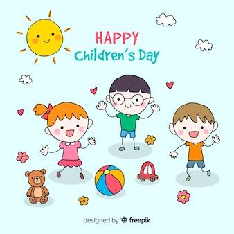 Детский день счастливый фон друзей