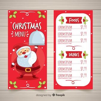 Симпатичный ручной шаблон рождественского меню