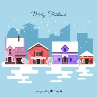 Прекрасный рождественский город с плоским дизайном