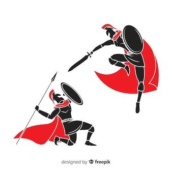戦うスパルタンの戦士のシルエット