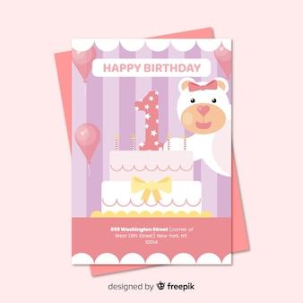 最初の誕生日笑顔のクマの招待状