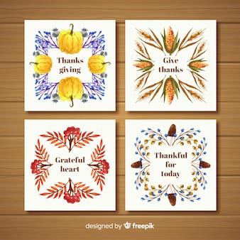 秋の要素のフレームとフラットなデザインで幸せな感謝カードコレクション