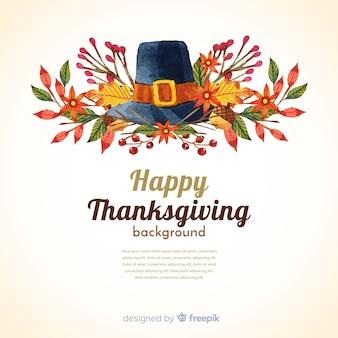 Счастливый благодарный акварельный фон с шляпой и листьями