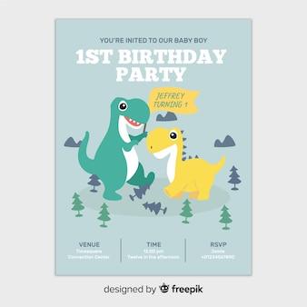 最初の誕生日の恐竜招待状