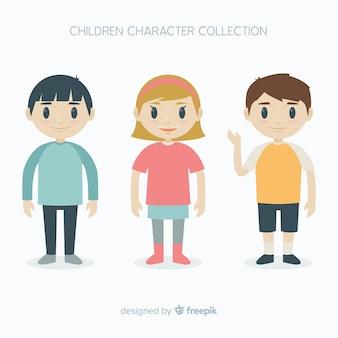 フラットデザインのハッピーキッズキャラクターコレクション