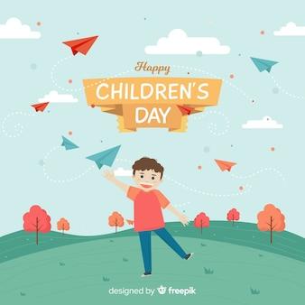 Счастливый детский день фон с ребенком летать бумажные самолеты