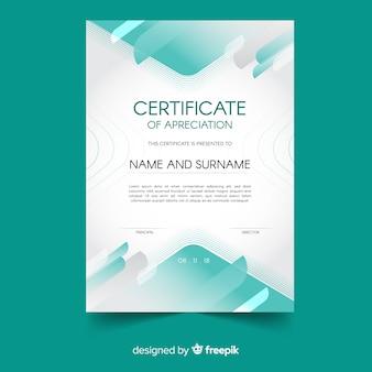 Современный шаблон сертификата с абстрактными формами