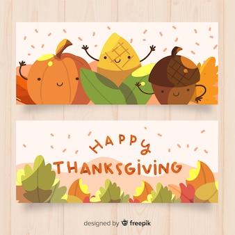 フラットデザインのかわいい秋の要素を使った、感謝の気持ちの良いバナーセット