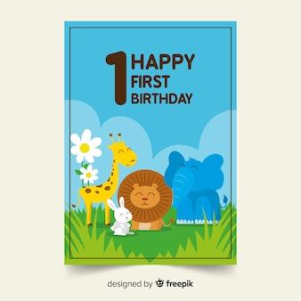 最初の誕生日の動物の友達カードのテンプレート