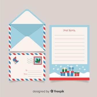 クリエイティブなクリスマスレターと封筒デザイン