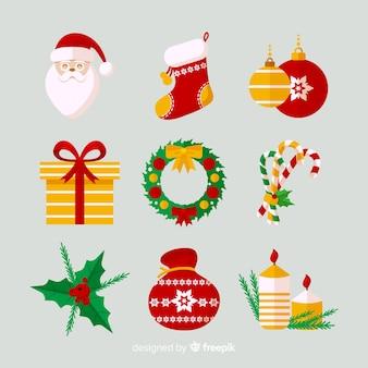 フラットデザインのクリスマスエレメントコレクション