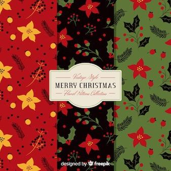 クリスマスフラットフラワーパターン