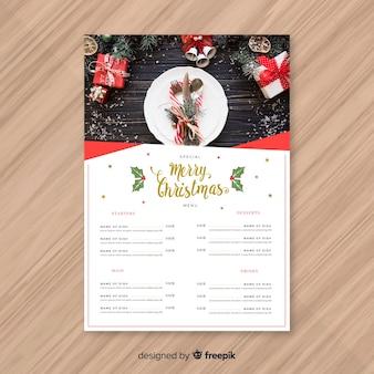美しいクリスマスメニューデザイン