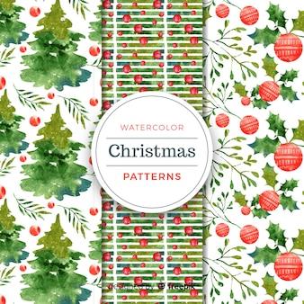 クリスマスの要素の水彩のパターン