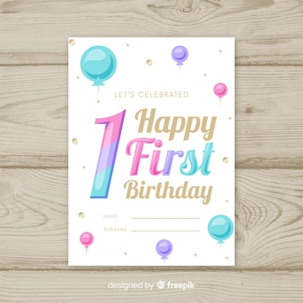 最初の誕生日の勾配色番号カードテンプレート