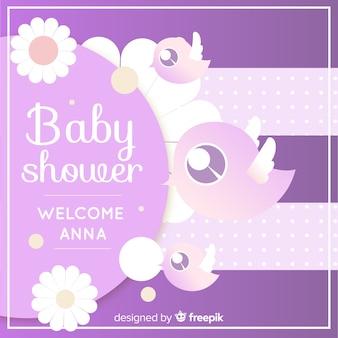 かわいい紫のベビーシャワーテンプレート