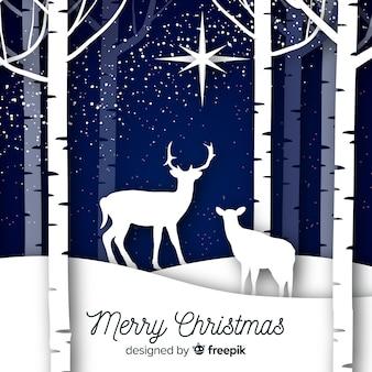 動物とクリスマスの背景