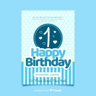 最初の誕生日の継ぎ目の丸いカードのテンプレート