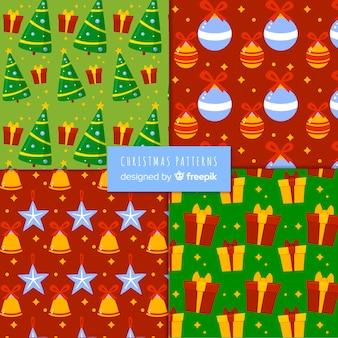 フラットデザインのクリスマスパターンコレクション