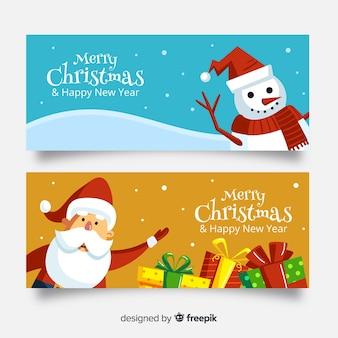 かわいいクリスマスバナー、フラットデザインのサンタクロースと雪だるまセット