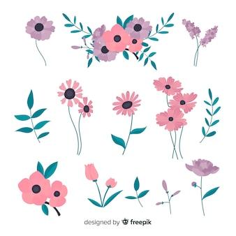 フラットデザインの素敵な花のコレクション