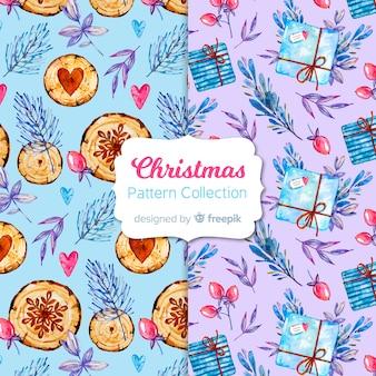 水彩クリスマスパターンコレクション