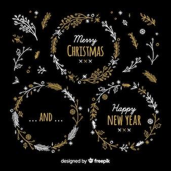 クリスマスと新年の花輪セット