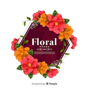現実的なデザインの素敵な花のフレーム